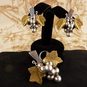 925 Silver brooch Pendant & Earrings Grapes mexico